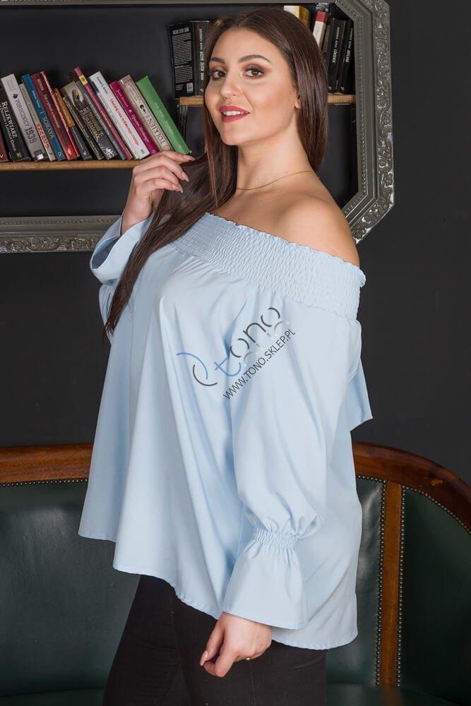 Niebieska bluzka damska GRANADA hiszpanka plus size