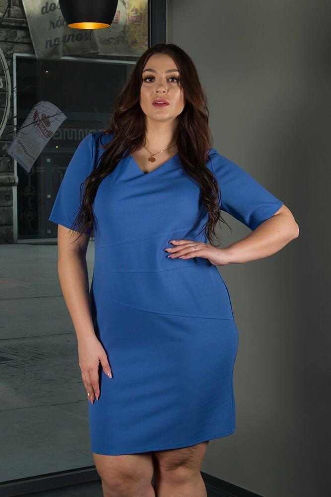 Niebieska sukienka damska BAUTISTA Plus Size