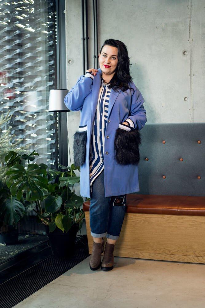 Niebieski Płaszcz FURLA Flauszowy Plus Size