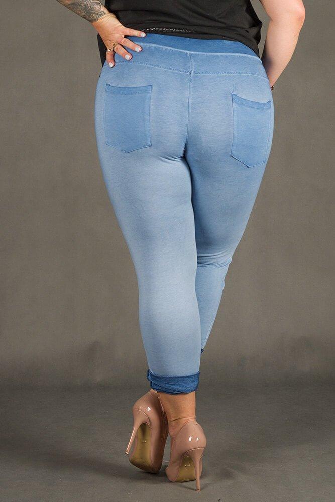 Niebieskie Spodnie VANILL Designerskie Plus Size
