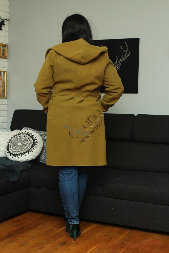 Oliwkowy Płaszcz damski DELANEY Wiosenny Flausz Oversize