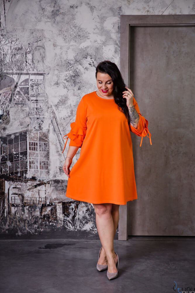 Pomarańczowa Sukienka AVRIL Plus Size