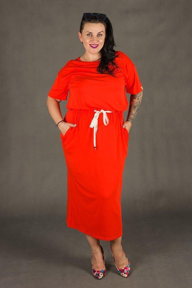 Pomarańczowa Sukienka Maxi MORANDI Plus Size