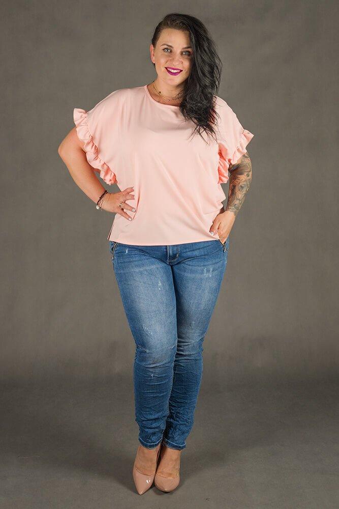 Różowa Bluzka LOGJA Plus Size