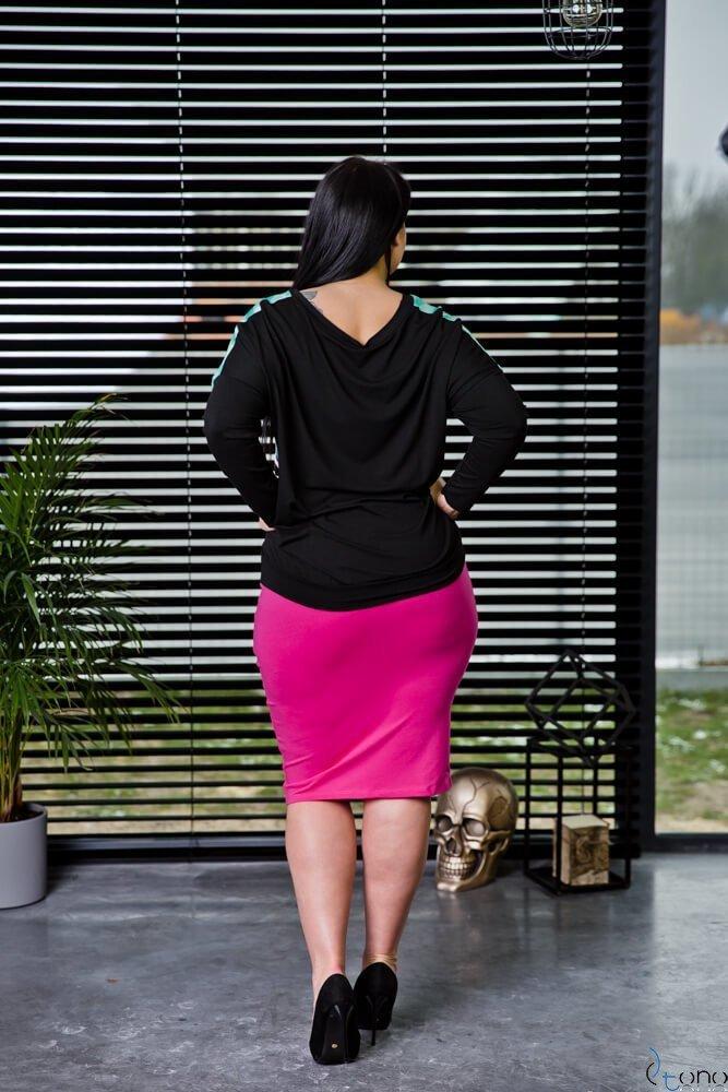Różowa Spódnica BRITT Plus Size Ołówkowa