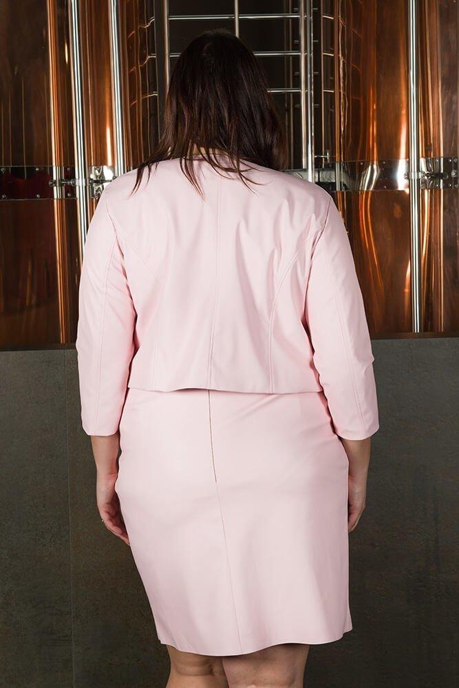 Różowa Spódnica DESMA Eko Skóra Midi guziki