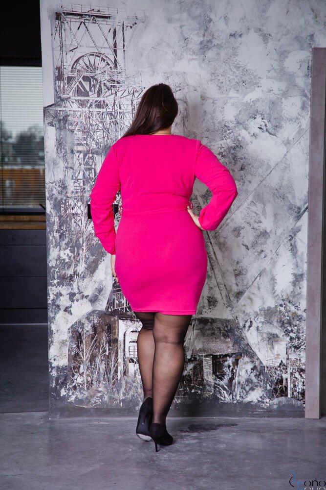 Różowa Sukienka KJARA  Unikalna Plus Size
