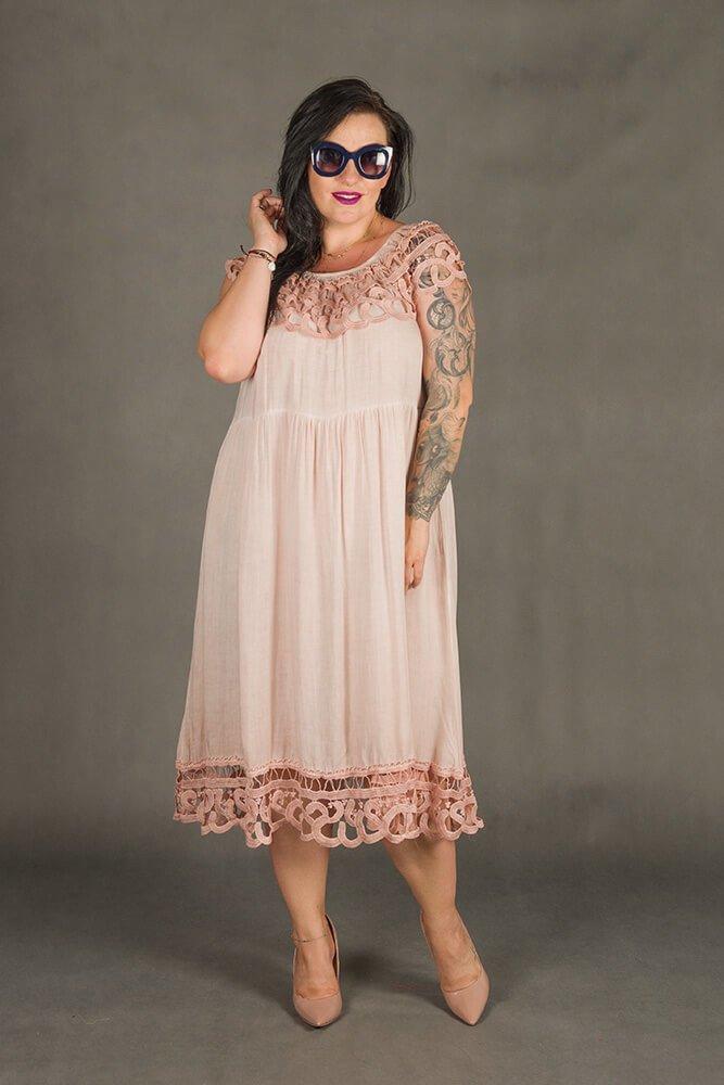 Różowa Sukienka VACANZA Hiszpanka Plus Size