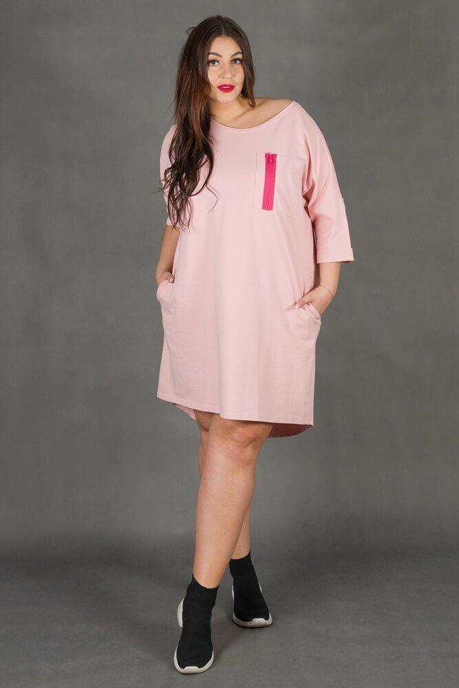 Różowa Sukienka VOSTRA Casual Plus Size