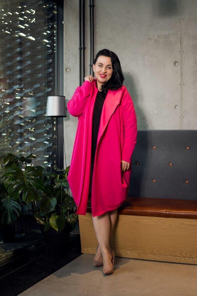 Różowy Kardigan VENETO Bawełna Plus Size