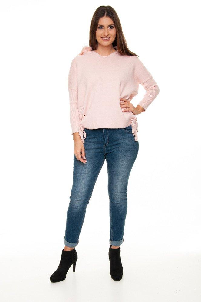 Różowy Sweter SORENTO Lisek Designerski Z kapturem