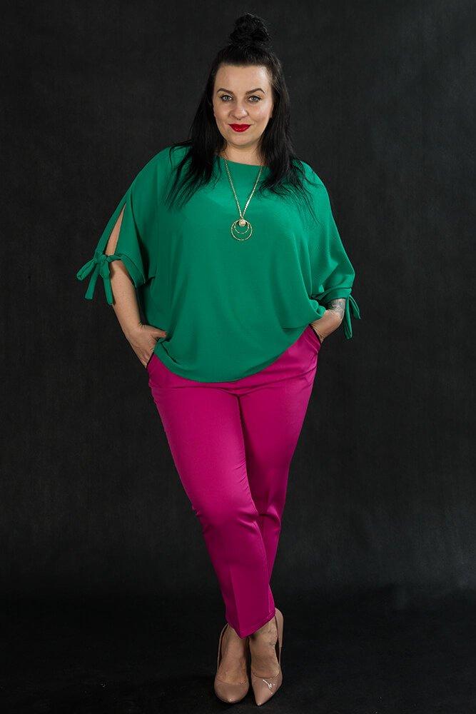 Spodnie OLGA Eleganckie Plus Size Amarantowe