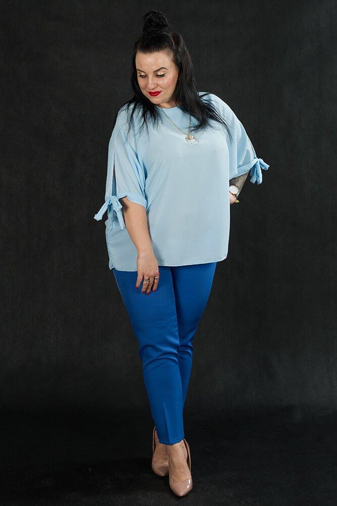 Spodnie OLGA Eleganckie Plus Size Niebieskie