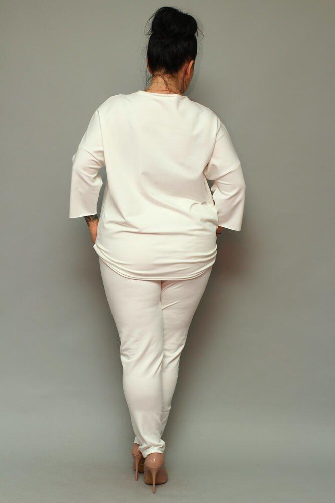 Spodnie dresowe damskie LOGGIA Plus Size ecru