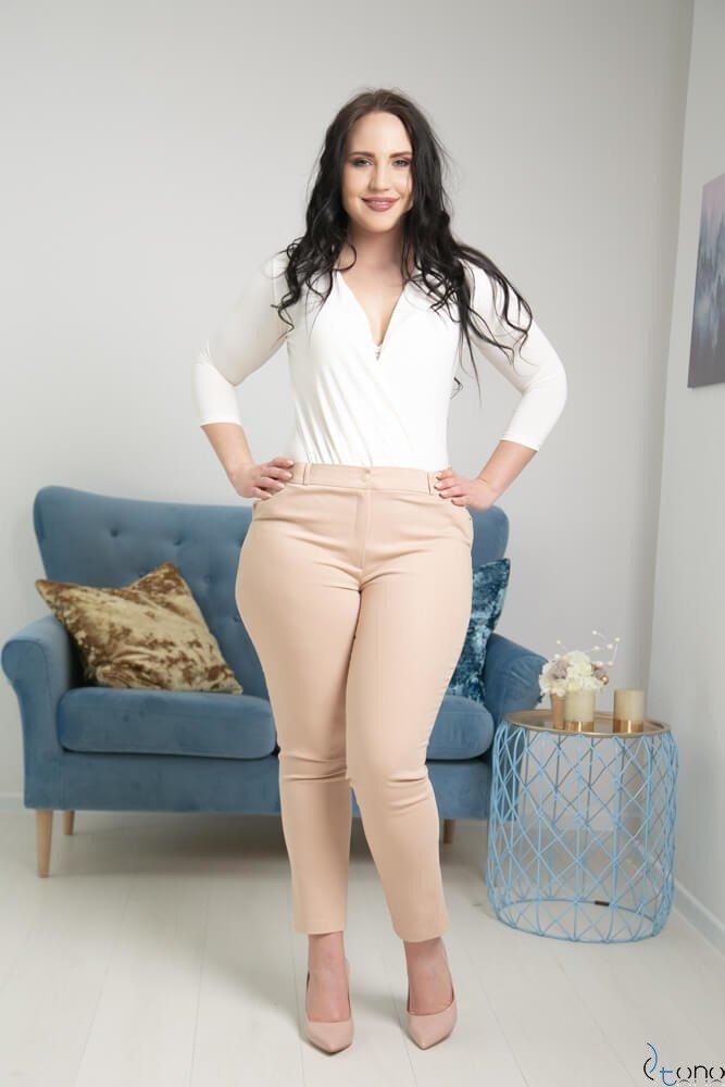 Średnio beżowe Spodnie RESPER eleganckie Plus Size
