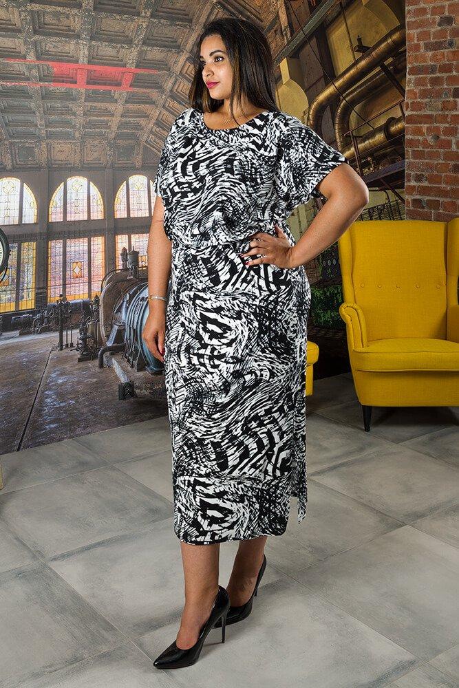 Sukienka BRAVAS Maxi Plus Size Czarno-biała