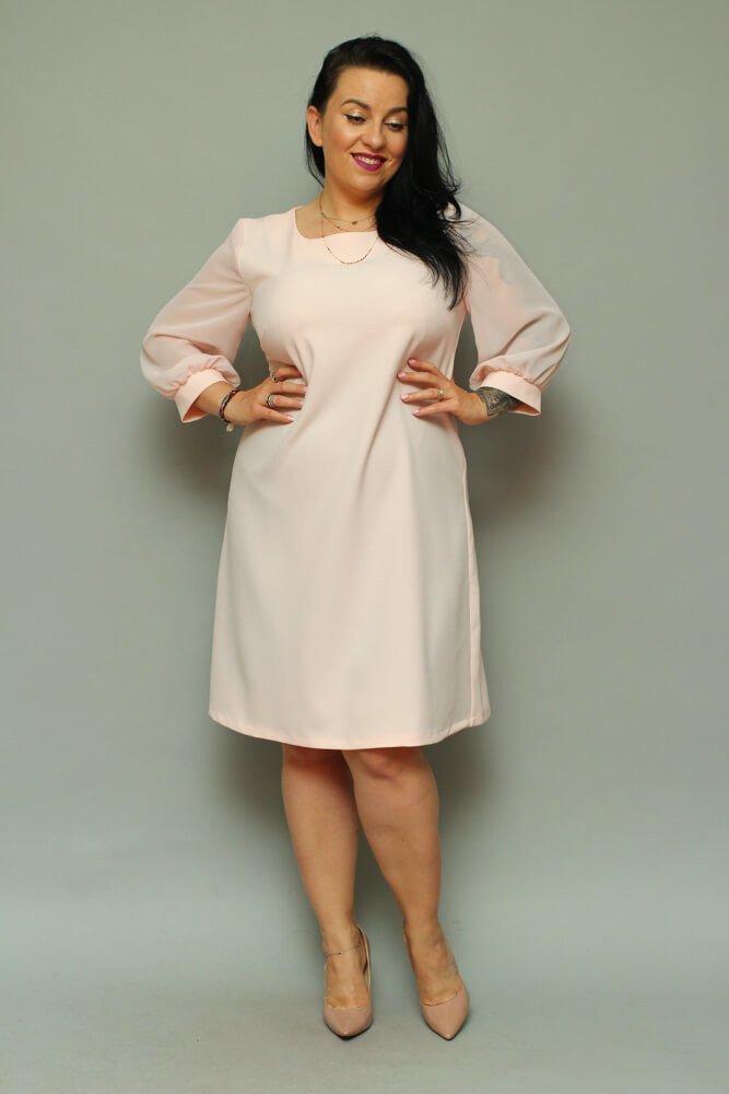Sukienka FATICA Szyfon Plus Size Różowa