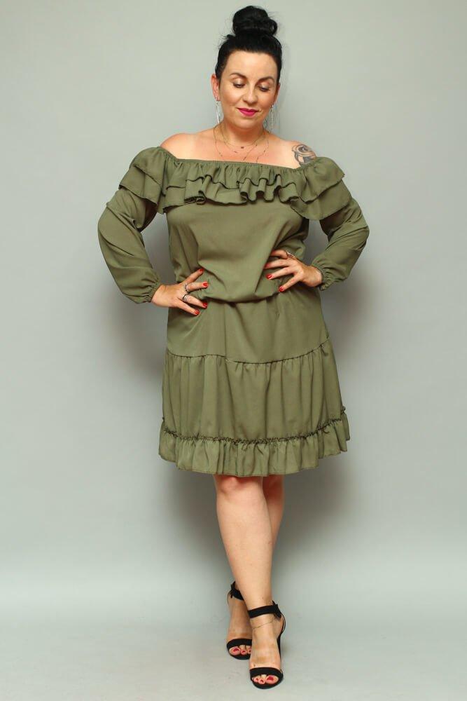 Sukienka LAKKI Hiszpanka Plus Size Khaki