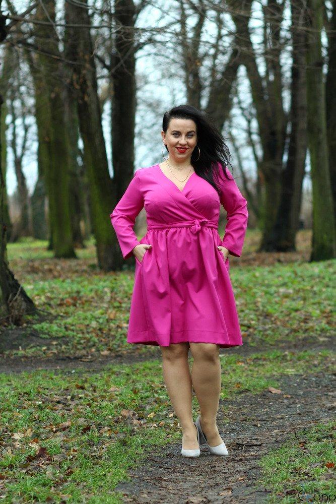 Sukienka MAKAN Kopertowa Fuksja Plus Size