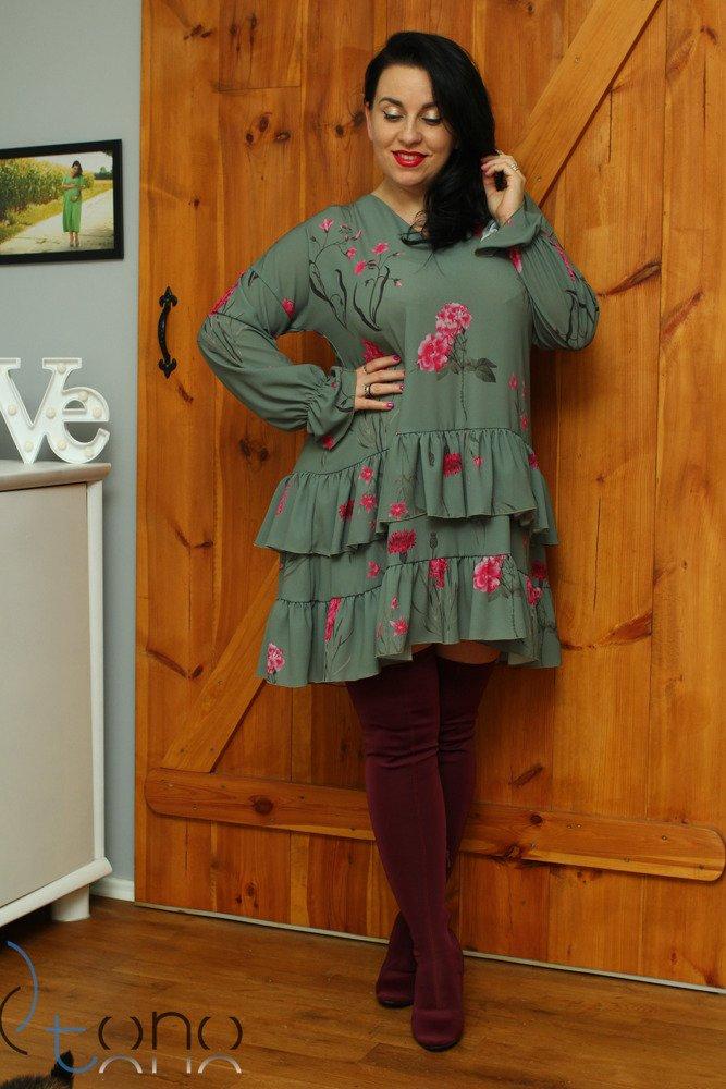 Sukienka MERCOLA Falbanka Oversize wzór 2