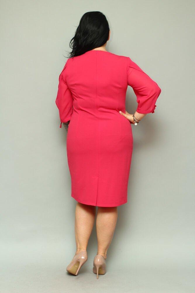 Sukienka RETRA Trapezowa Duże Rozmiary Fuksja