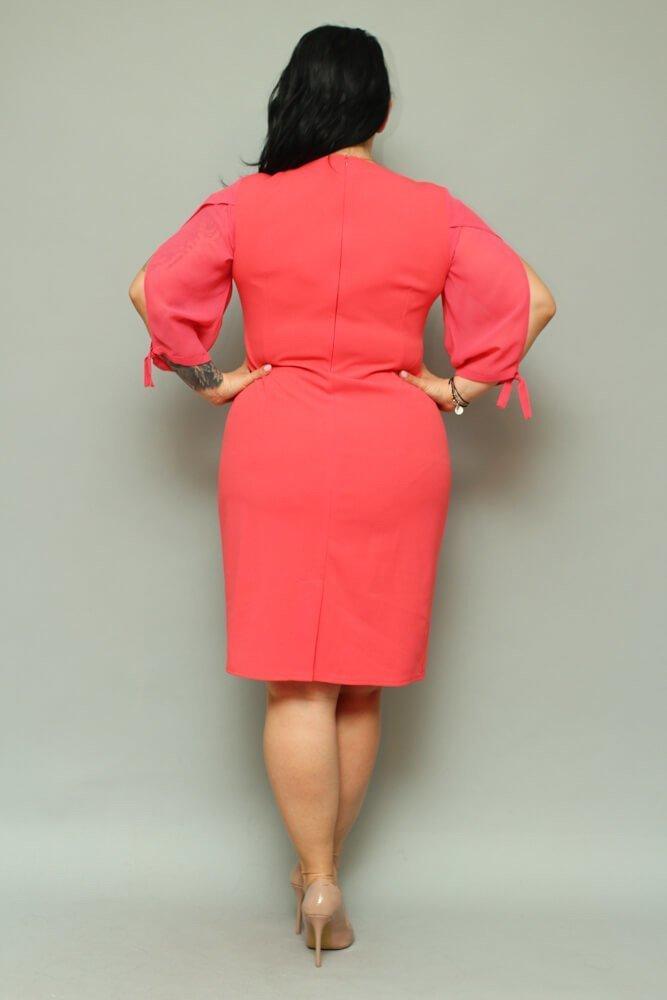Sukienka RETRA Trapezowa Duże Rozmiary Koral