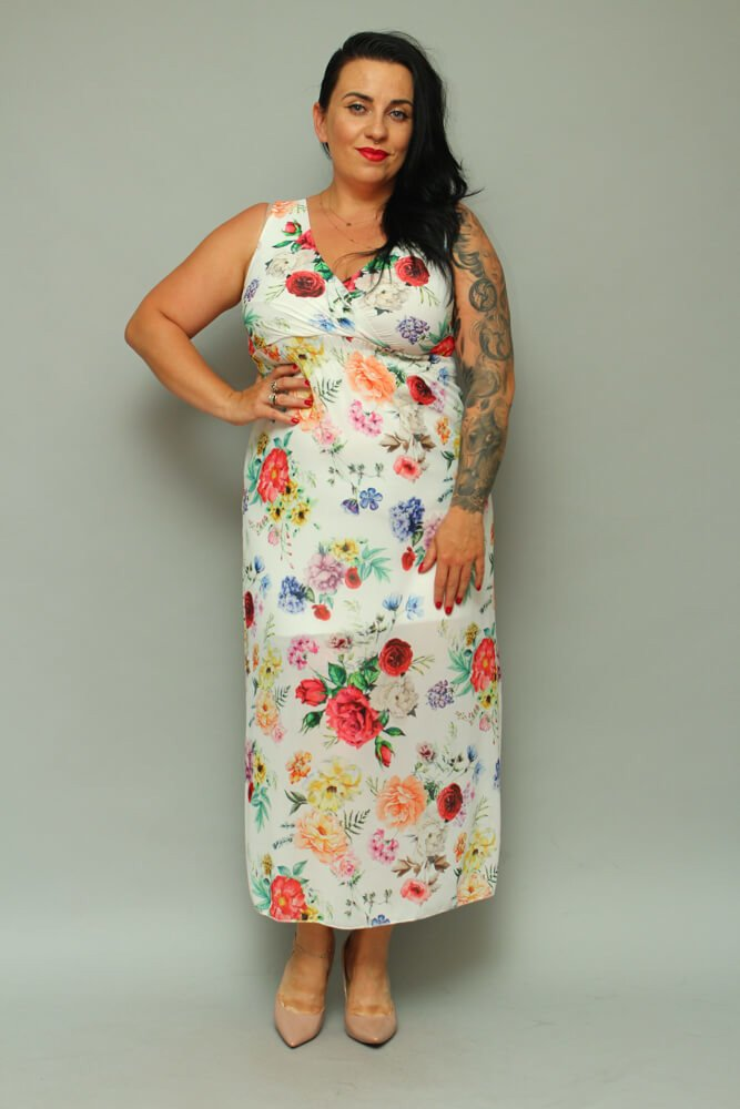 Sukienka TEMPORA Maxi Letnie Plus Size wzór 1