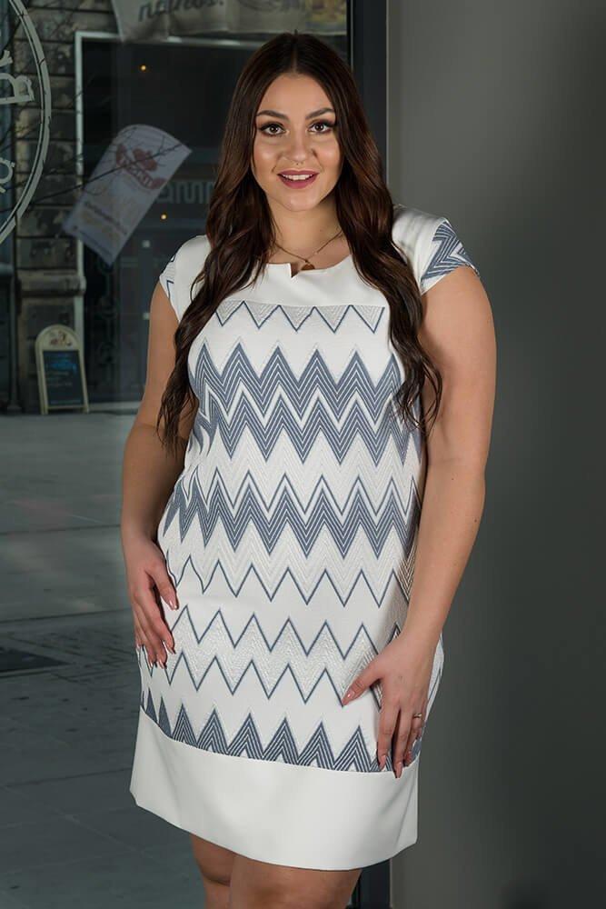 Sukienka Wizytowa LATIKA Plus Size zygzaki wzór 3