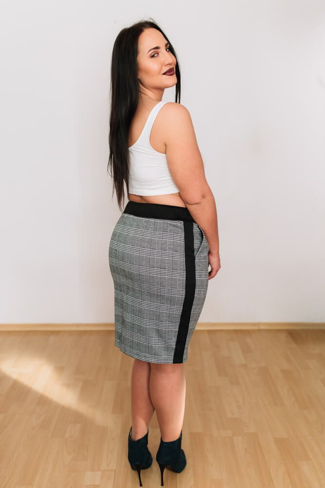 Szara Spódnica GABY Plus Size Kratka