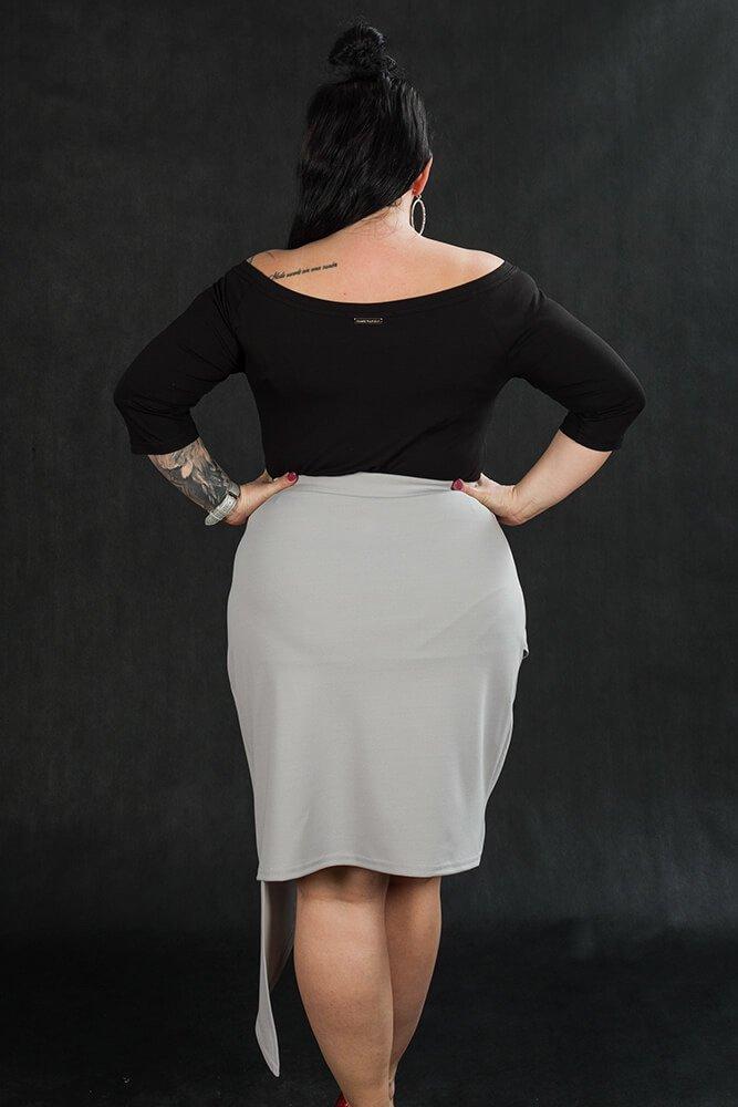 Szara Spódnica damska Plus Size SENTIDA Asymetryczna