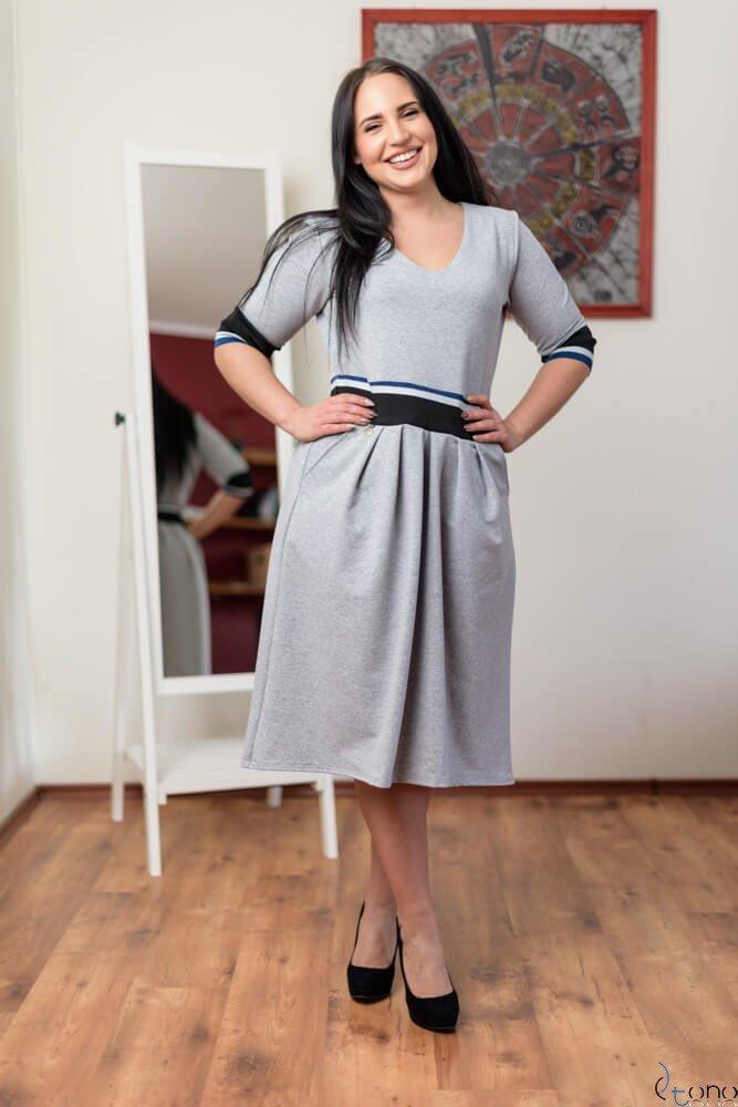 Szara Sukienka TEVEZ Plus Size