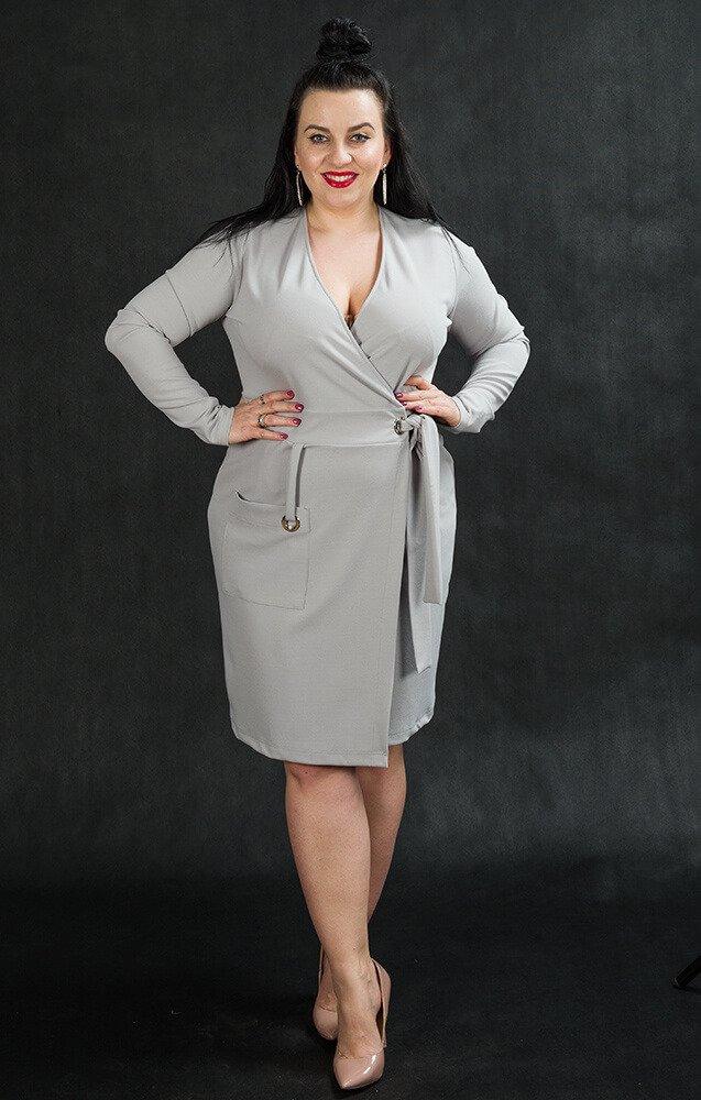 Szara sukienka damska KIMBERLY kopertowa Size Plus