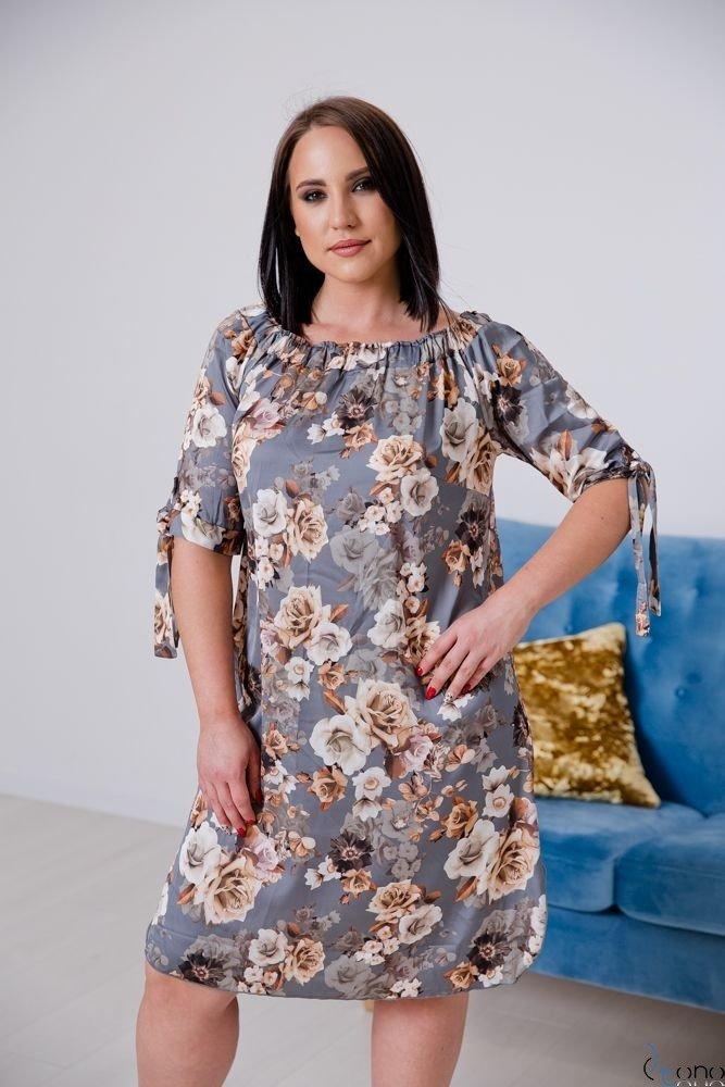 Szaro-Beżowa Sukienka VALENCIA Hiszpanka Plus Size