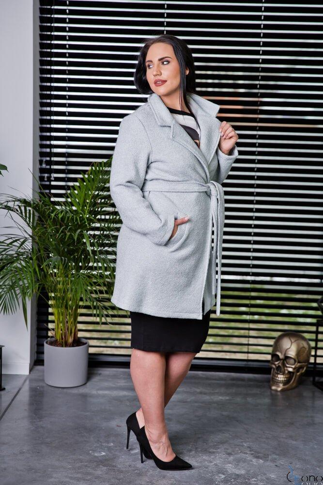 Szary Płaszcz REBEL Plus Size
