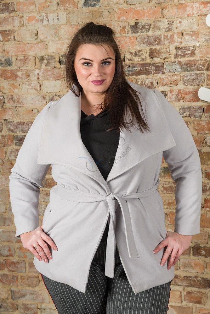Szary Płaszcz damski PRIMA Flausz Size Plus