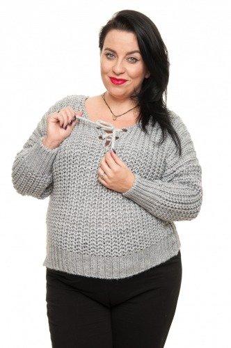 Szary Sweter FILO Oversize Ciepły Dekolt plus size