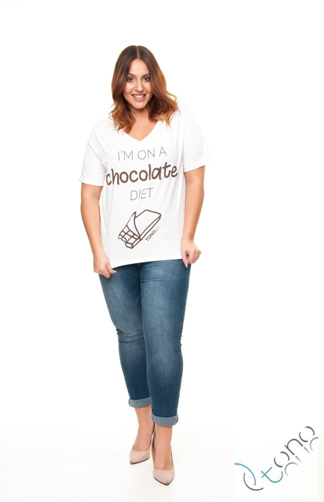 T-SHIRT CHOCOLATE BLUZKA V NECK