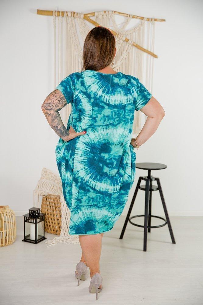 Turkusowa Sukienka SPLASH Plus Size