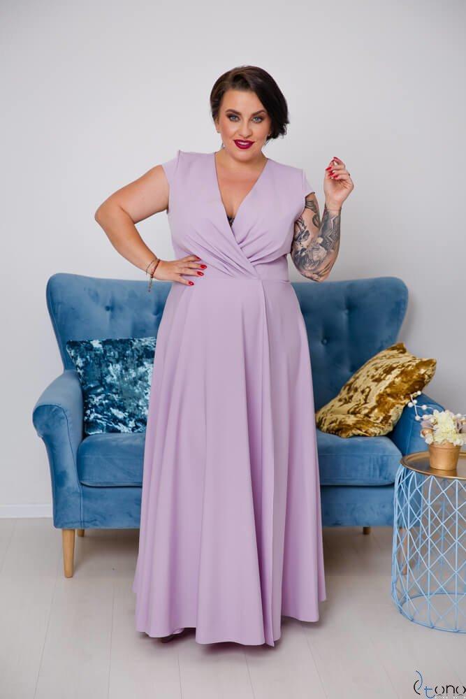 Wrzosowa Sukienka LOREDANA Plus Size
