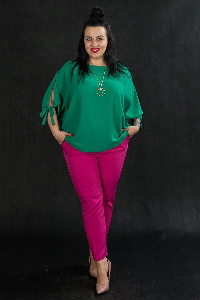 Zielona BOW bluzka damska oversize plus size