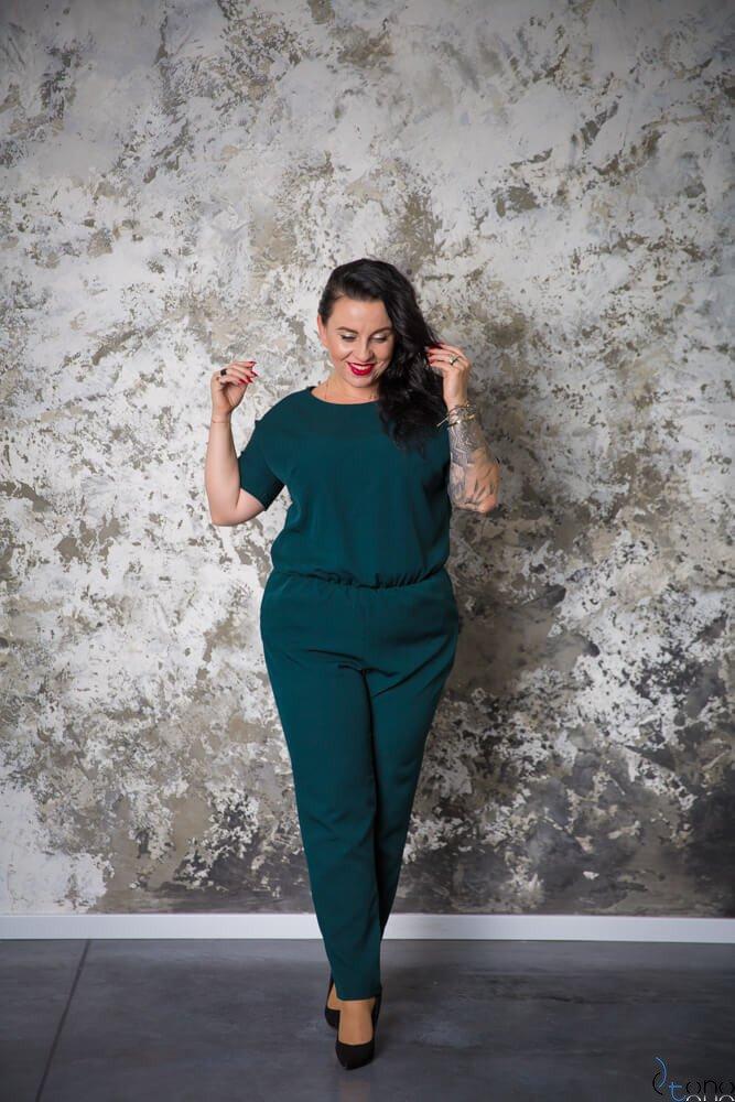 Zielona Kombinezon NERRA Elegancki Plus Size