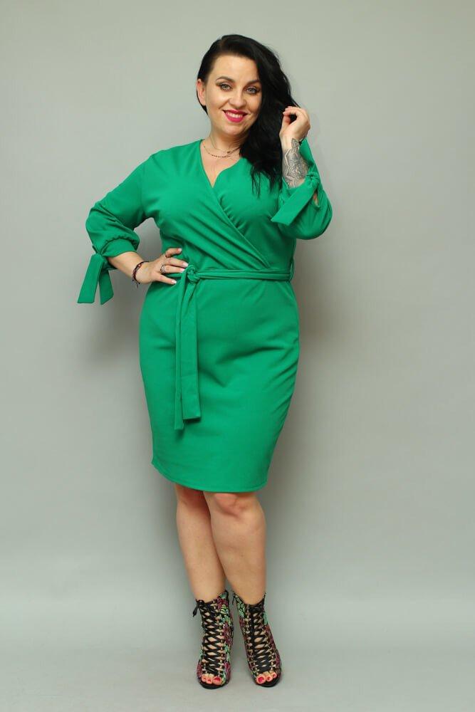 Zielona Sukienka CIARRA Kopertowa Plus Size