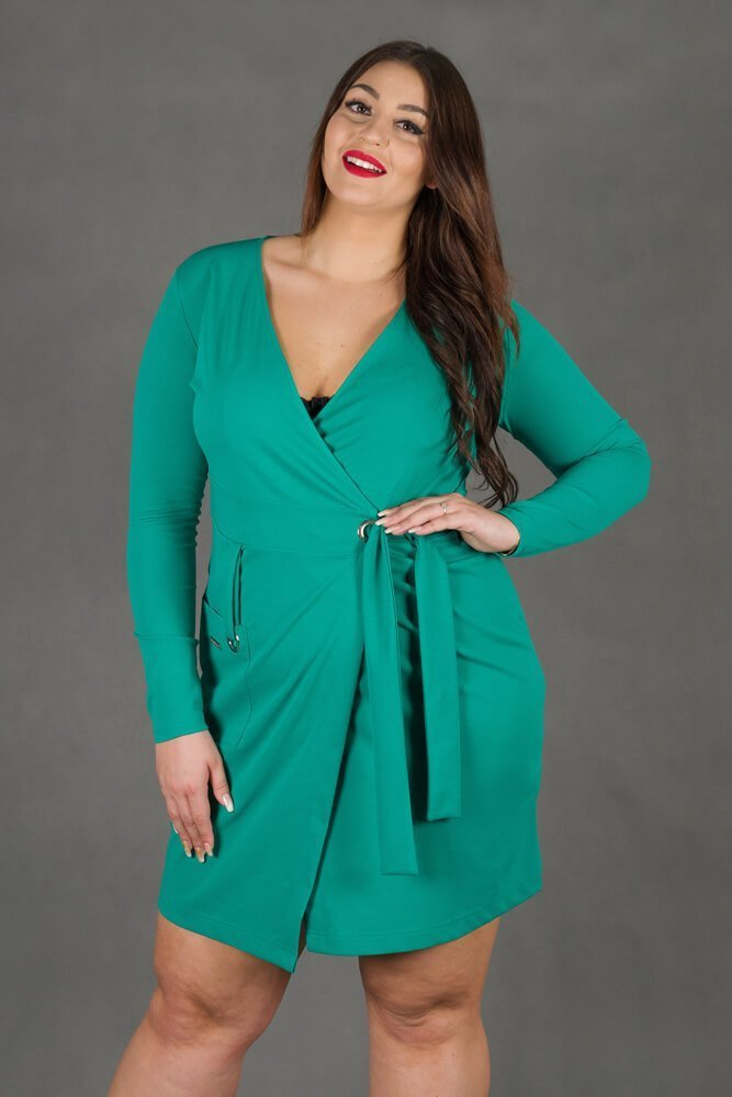 Zielona sukienka damska KIMBERLY kopertowa Size Plus