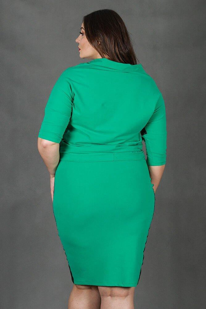Zielony Komplet RIA Bluzka Spódnica Plus Size