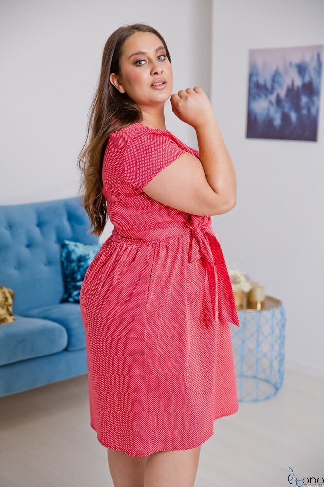Czerwono-Biała Sukienka MACARIS Plus Size